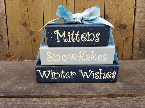 Mittens Snowflakes and Winter Wishes Wood Blocks
