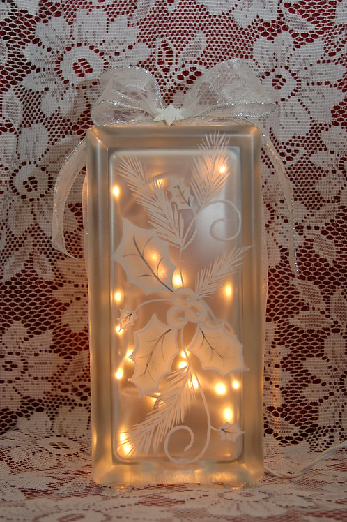 White Holly Glass Block