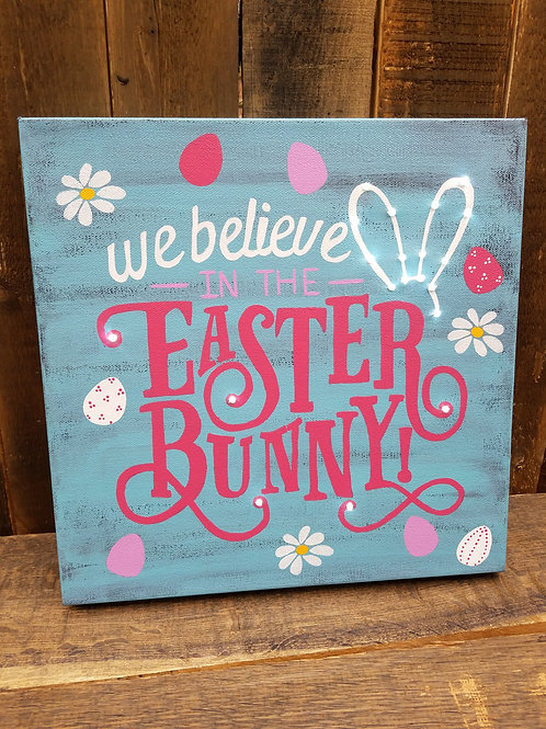 Easter Bunny Lighted Canvas