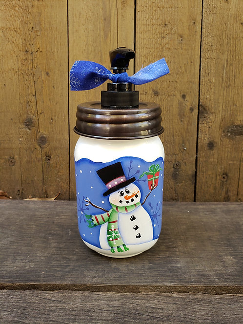 Snowman Mason Jar Soap or Lotion Dispenser