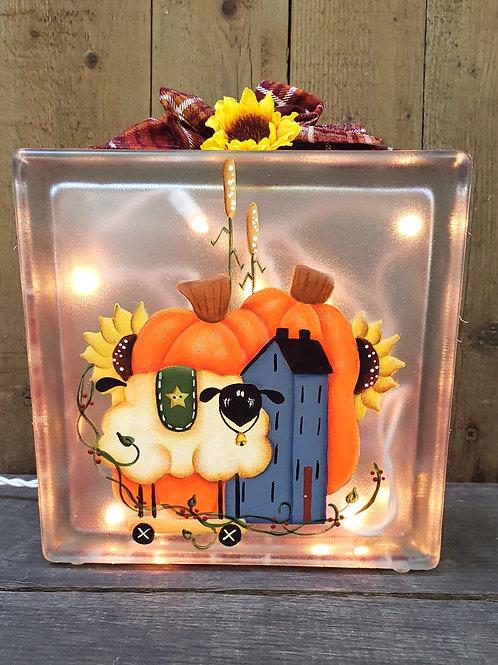 Primitive Sheep and Pumpkin Glass Block