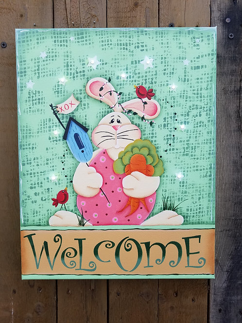 Spring Welcome Lighted Canvas