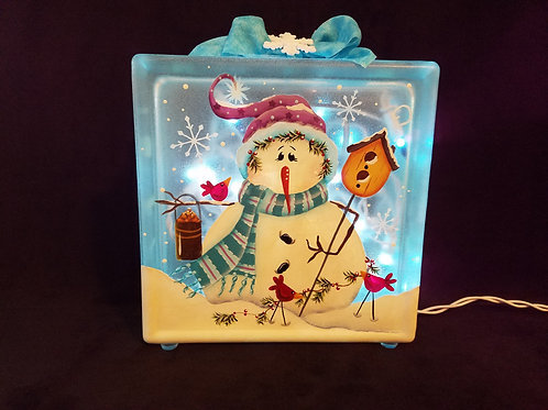 Frosty Blue Snowman Glass Block