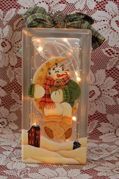 Snowman Moon Sitter Glass Block