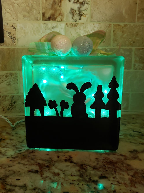 The Easter Bunny's House Glass Block