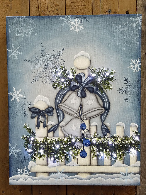 Silver Bells Lighted Canvas