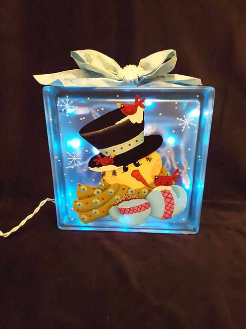 Top Hat Snowman Glass Block