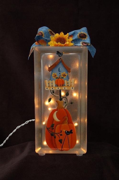 Birdhouse Pumpkin Glass Block