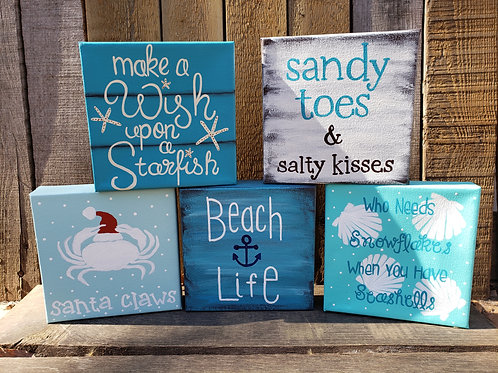 Small Canvas Beach Signs