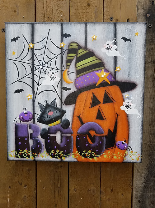 BOO!  Lighted Canvas
