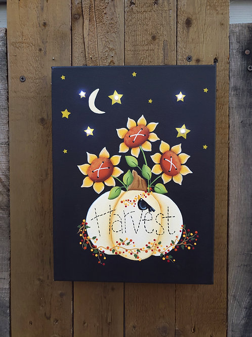 White Pumpkin Harvest Lighted Canvas