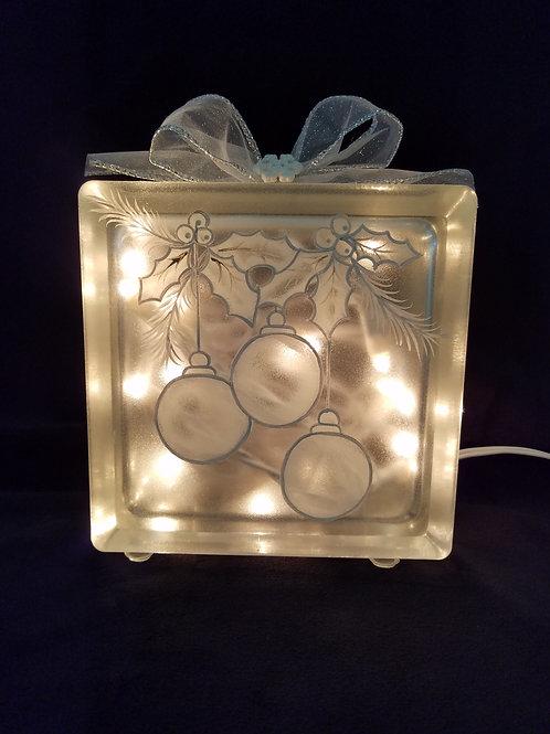 White Ornaments Glass Block