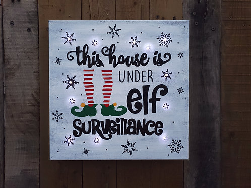 Elf Surveillance Lighted Canvas
