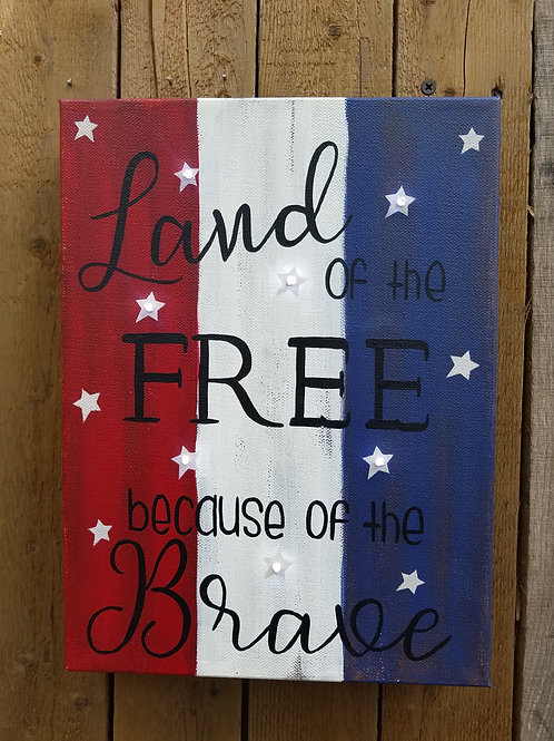 Land of the Free Lighted Canvas