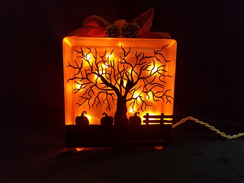 Pumpkin Sunset Glass Block