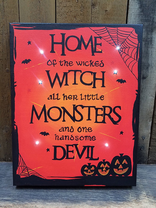 Home of the Wicked Witch Lighted Canvas