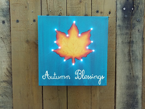 Autumn Blessings Lighted Canvas
