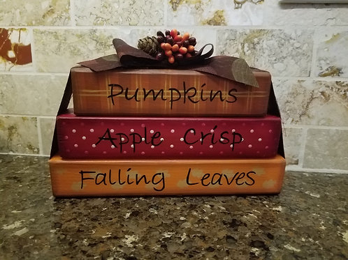 Pumpkins and Apple Crisp Wood Blocks