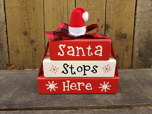 Santa Stops Here Wood Blocks