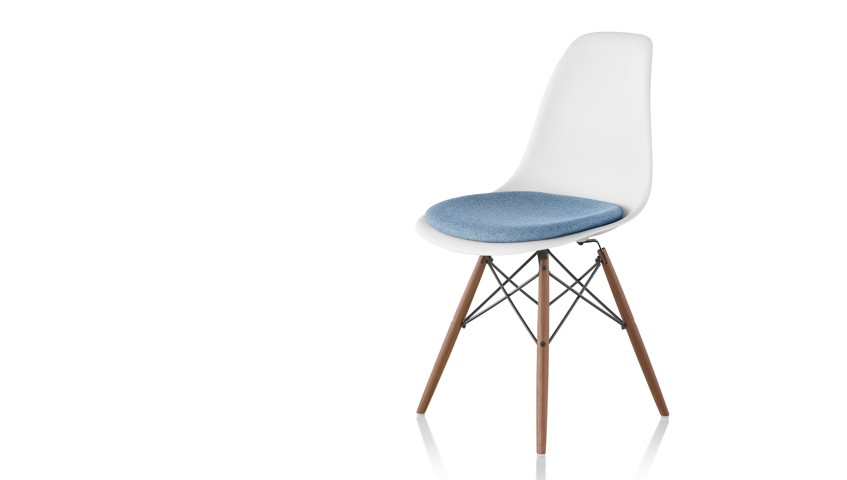 Eames Molded Plastic Side Chair w upholstery