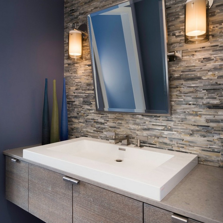 modern-bathroom-with-Beveled-Edge-Mirror-and-caesar-stone-counter-floating-vanity-also-vessel-sinks-and-stone-cladding-wall-design-ideas