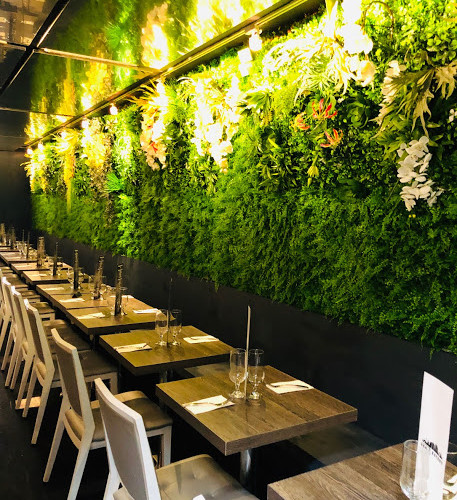 Depth perspective view of dining tables and wall