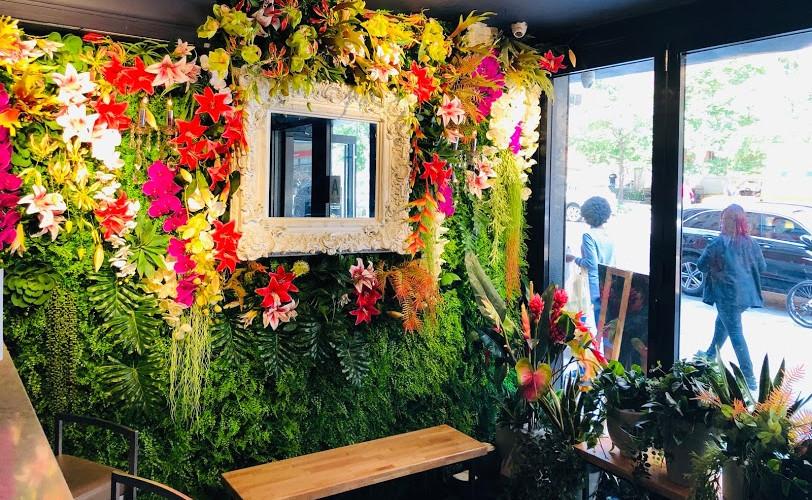 BKK Eatery flower wall