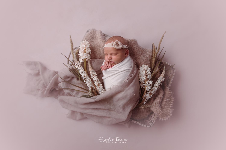Baby im Körbchen Floral