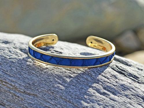 Bracelet jonc fin et cuir de tilapia - 3 coloris au choix