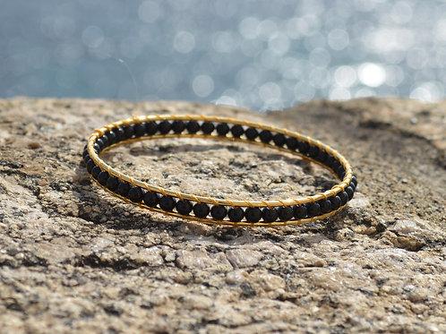 Bracelet jonc et tissage de perles - 2 pierres au choix