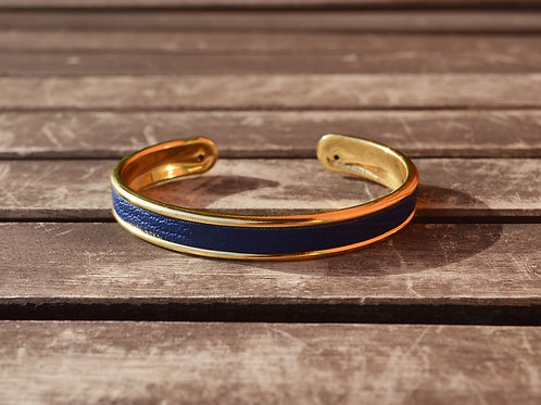 Bracelet jonc fin et cuir de chèvre - 2 coloris au choix