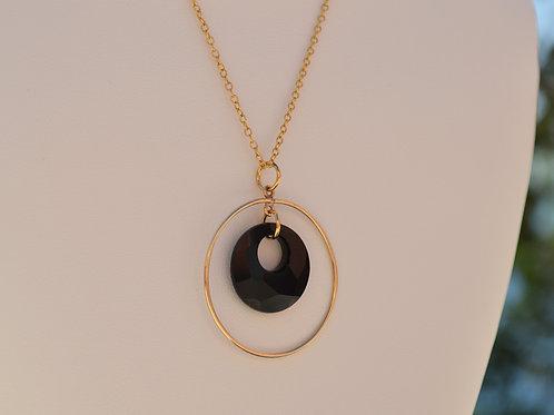 Sautoir cercle plaqué or et cristal