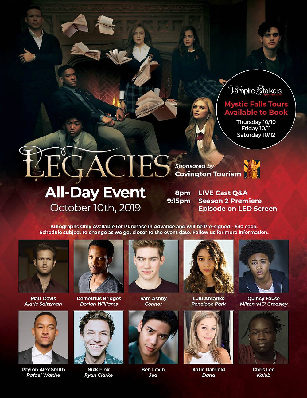 Legacies flyer and autograph link