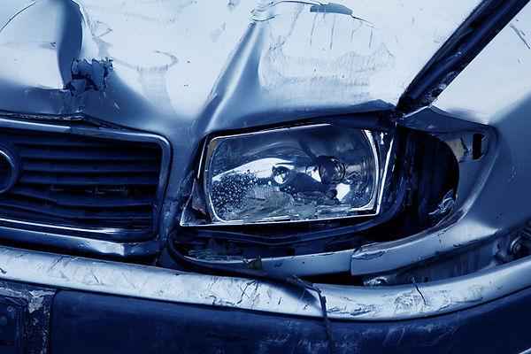 Damaged metal car.