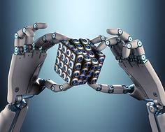 Robot hands holding a cube