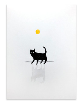 The shadow takes his cat for a walk