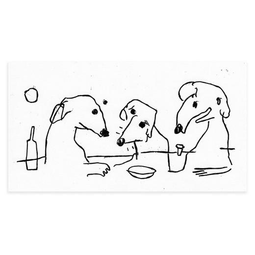 Three narrow dogs having a drink together at backbar