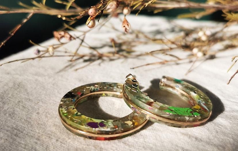 Recycled CD plastic earrings