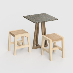 Sustainable furniture with RE-CD top