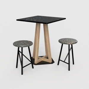 Sustainable furniture with recycled plastic top