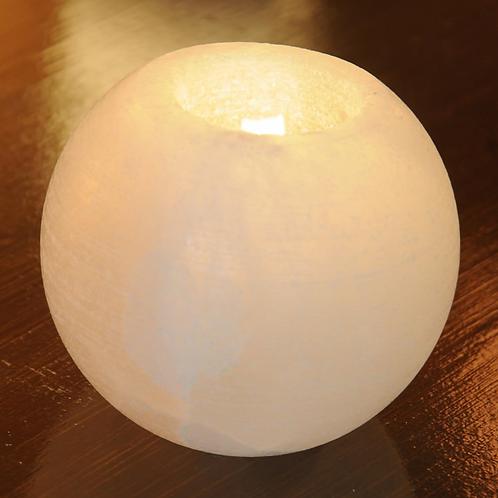 Himalayan Salt White Round Candle Holder