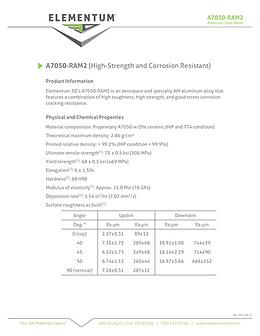 A7050-RAM2 Data Sheets 2021-04-15 Pg1 FI