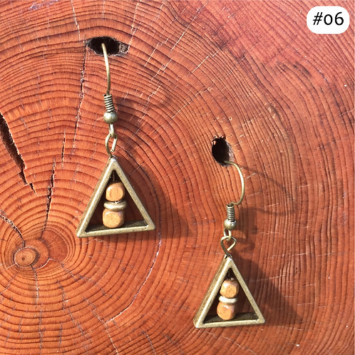 gold triangle wooden beaded earring #06