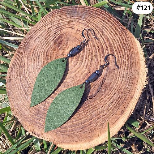 green leaf magnetic earrings #121