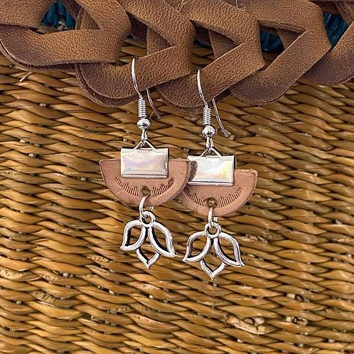 """""""Leather Lotus"""" earrings"""