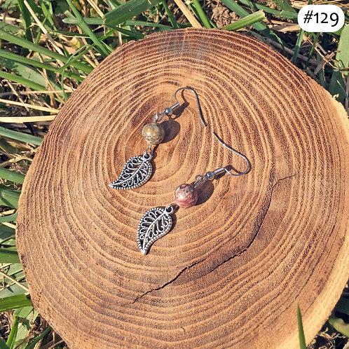 paisley earth beaded earrings #129