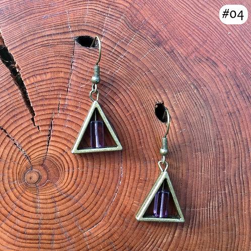 gold triangle purple rectangle beaded earring #04