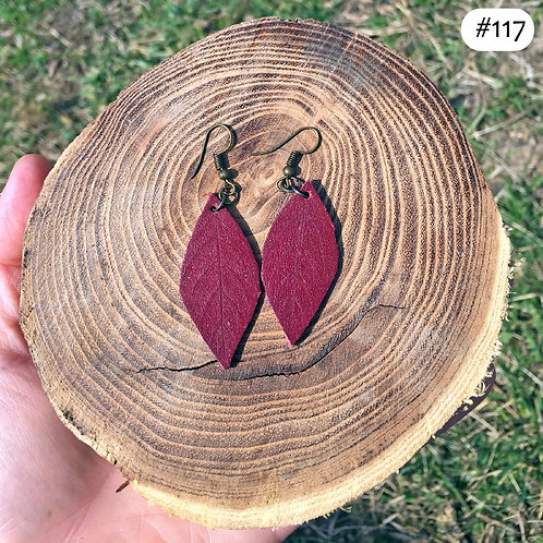 red leather leaf earrings #117