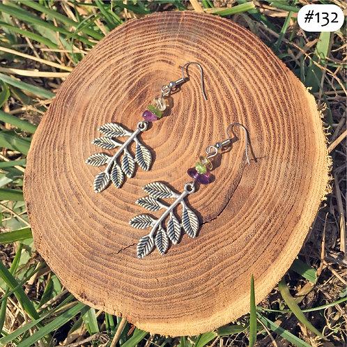 leaf beaded earrings #132