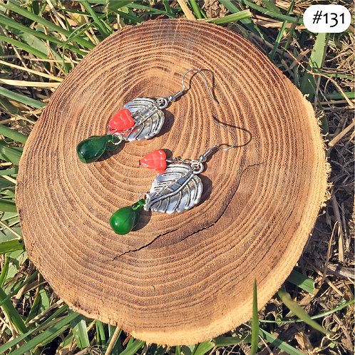 grape leaf beaded earrings #131